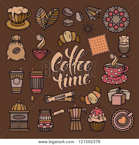 Coffee Theme Icons Set in Minimalistic Outline Doodle Style. Calligraphic Lettering Coffee Time. Vector illustration.