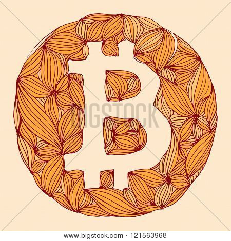Vector decorative hand drawing Bitcoin symbol. cryptography illustration