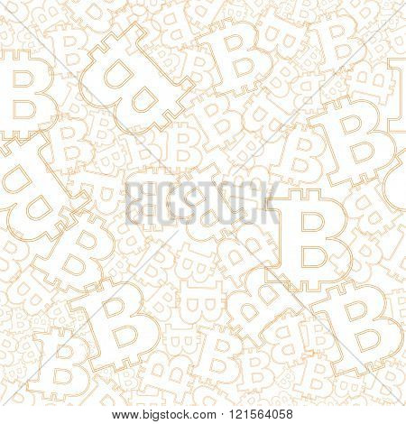 Seamless background with oranga symbols bitcoins. Vector pattern