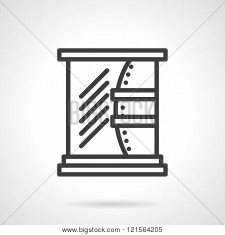 Bathroom mirror black line design vector icon