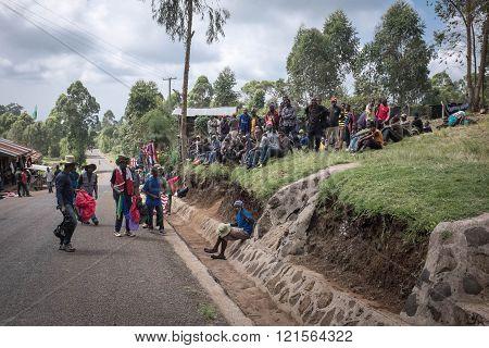 MACHAME, KILIMANJARO/TANZANIA - JANUARY 16, 2016: Porters And Guides Meeting