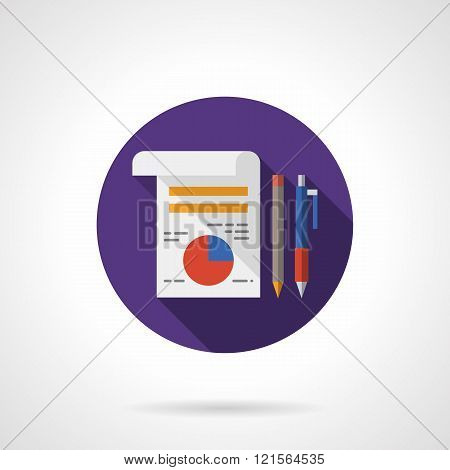 Management icon flat round flat color vector icon