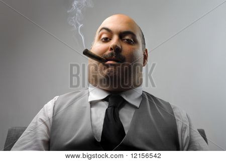 portrait of man smoking cigar