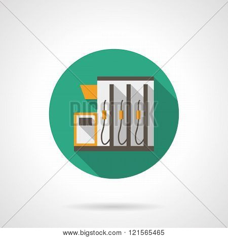 Gas station color round flat color vector icon