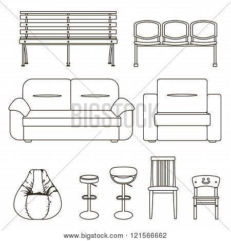 Black And White Set Of Seats