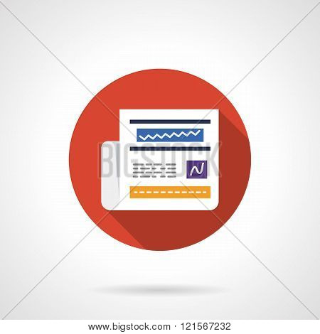 Newspaper online round flat color vector icon