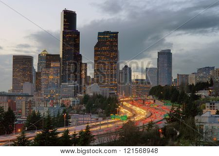 People commute during rush hout in and out of Seattle