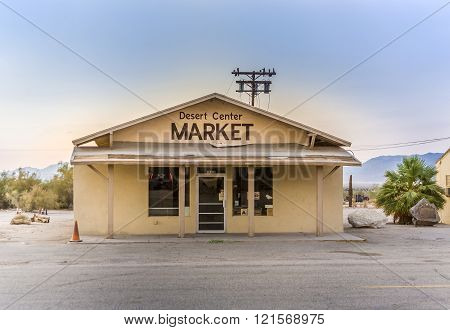 Closed Super Market At The Small Village Of Desert Center, Usa