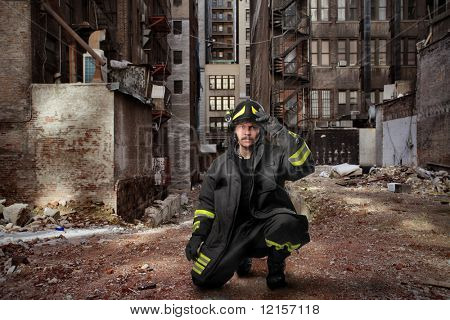 fireman in a city street