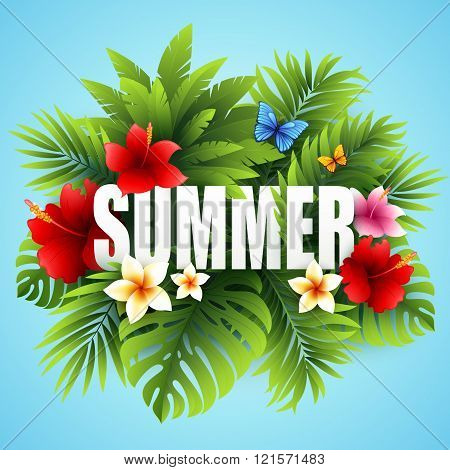 Summer tropical background of palm leaves and tropical flowers. Tropical palm leaves. Tropical summe