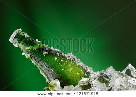 Cold green bottle of beer