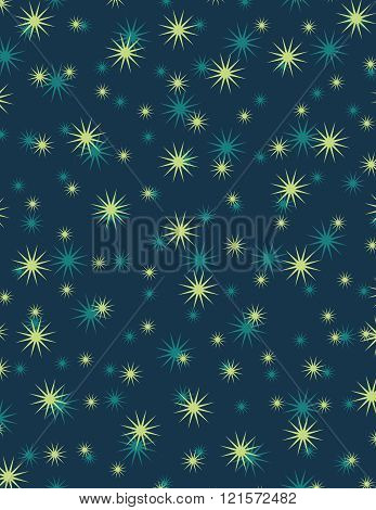 Blue and green stars over dark blue background