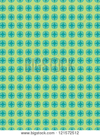 Green and blue star pattern over green background