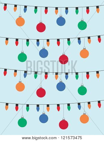 Lights and christmas blubs over solid blue background