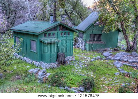 Green Cabin And Shed In The Angeles National Forest