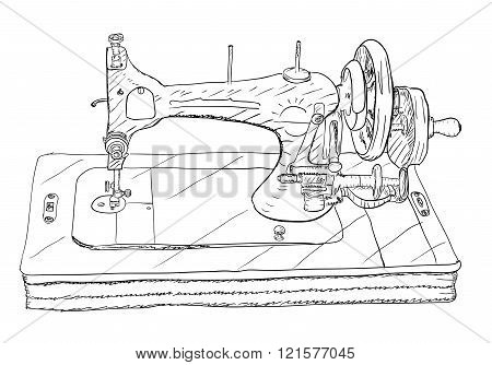 Vintage style sewing machine on white background.