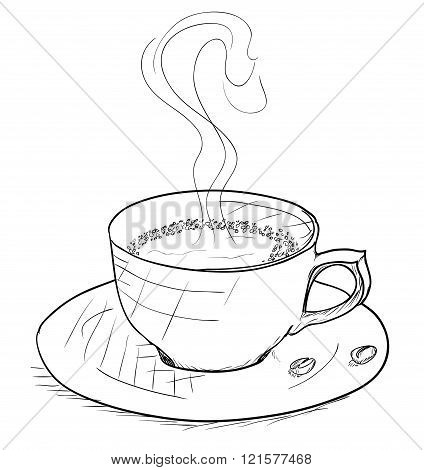 Vintage style cup of coffee on white background.