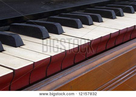 Old harmonium keyboard close up