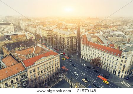 Aerial View On Budapest Sunrise At Winter, Hungary - View From St. Stephen's Basilica