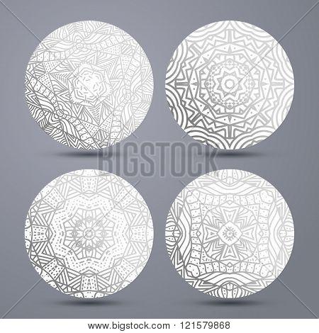 Set mandala pattern . Mandala stand hot