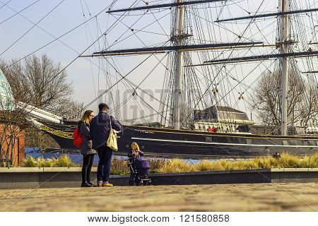 LONDON, UNITED KINGDOM - MARCH 11 2016: People in front of the ship building on the 11th of March 2016 in Greenwich, London.