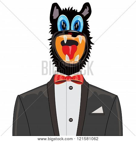 Wolf in suit with tie by butterfly