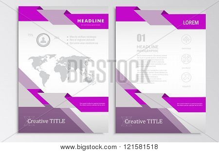 Vector brochure template. A4 format layout. Home page and more. Infographics, headers, stylish appea