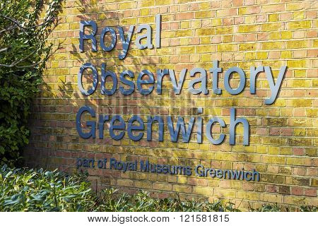 LONDON, UNITED KINGDOM - MARCH 11 2016: The Royal Observatory writings on the 11th of March 2016 in Greenwich, London.