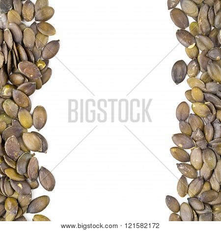 Unshelled pumpkin seeds border