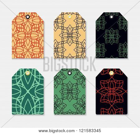Set the label 6 with  geometrical pattern. Label for clothes