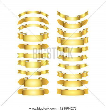 Isolated Vector Colored Satin Ribbons Set