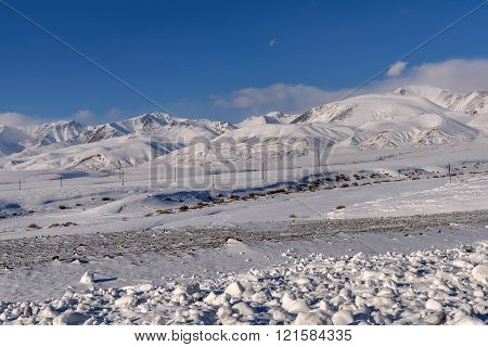 Beautiful winter views of the mountains covered with snow and snowy valley with sparse vegetation on a background of blue sky and clouds
