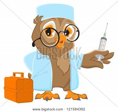 Owl doctor holding syringe. Owl veterinarian in white coat