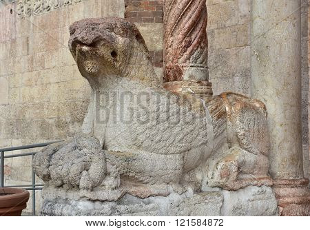 Griffin Guardian Statue At The Entrance Of Verona Cathedral (duomo)