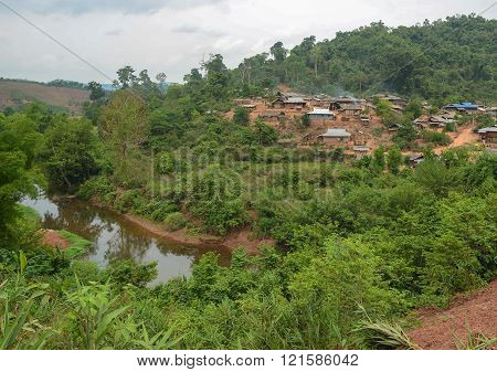 Phongsaly, Laos - May 4, 2014 :  Hmong Mountaineer Village Near Phongsaly Province, Northern Laos