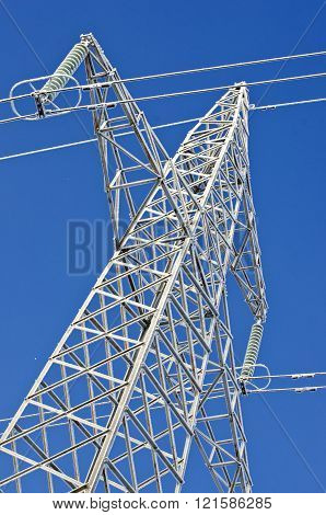 Electricity Pylon Construction In Winter