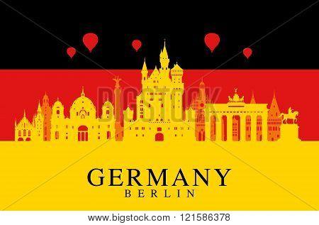 Germany Flag, Berlin Travel Landmark.