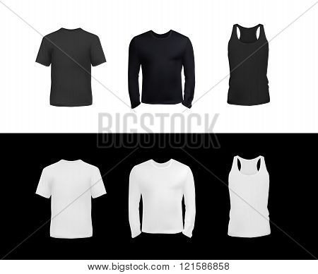 T-shirt set for men, short sleeve, long sleeve and tank top black and white vector eps10 illustration