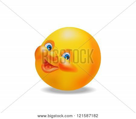 Emoticon face, cheerful and smling