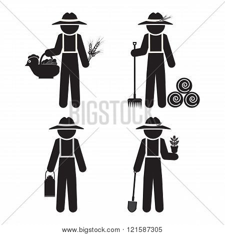 Farmer Man With Tool, Set Vector Illustration