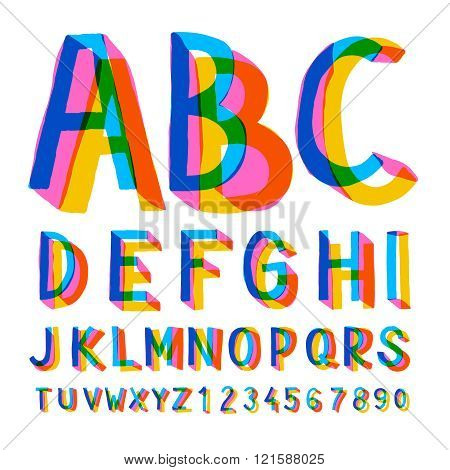 Creative colorful alphabet and numbers