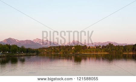 Wide view of Anchorage, Alaska's Westchester Lagoon