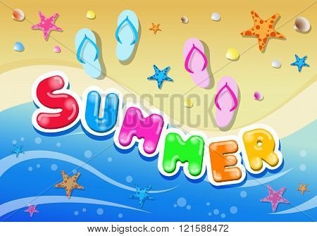 Colorful Summer Background with Starfish and Mollusk including Slippers