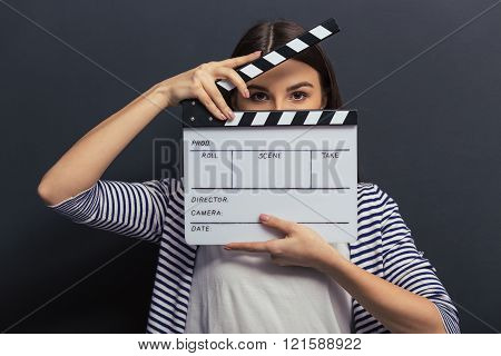 Handsome Girl With Clapperboard