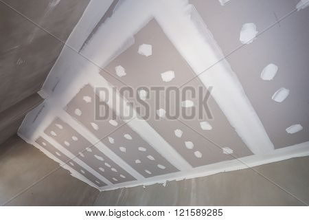 Gypsum Board Ceiling At Construction Site