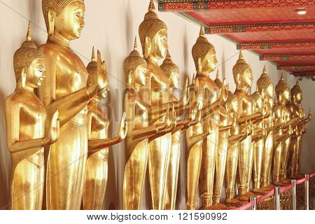 Bangkok- Thailand : March 4, 2016  Gold Buddha statues at Wat Pho