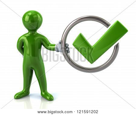 Green Man Character Holding Tick Sign