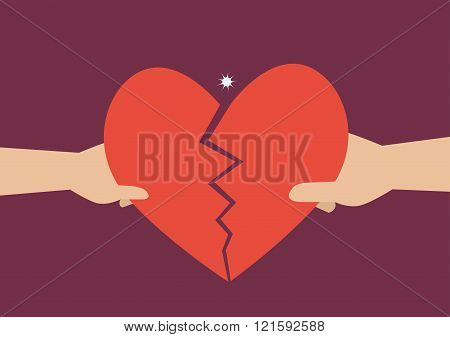 Hand Of A Man And Woman Tearing Apart Heart Symbol