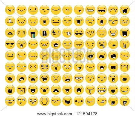 Great set of 99 yellow emotion isolated on white. Emoji