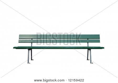 Green wooden park bench
